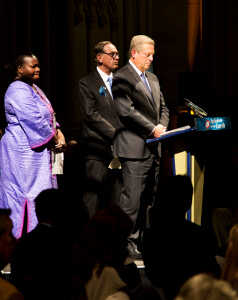 Former Vice-President Al Gore speaking at the Multifaith Service