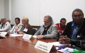 Panel on Indigenous Traditions, (l-r): François Paulette, Mindahi Bastida-Muñoz, Tonya Frichner, Andras Corban-Arthen, Chief Arvol Looking Horse.